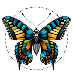 Tattoo butterfly in circle beads beauty symbol vector