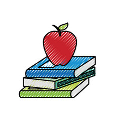 Text book with apple vector