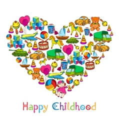 Toys heart happy childhood vector image