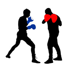 Trainer and boxer on sparring silhouette vector