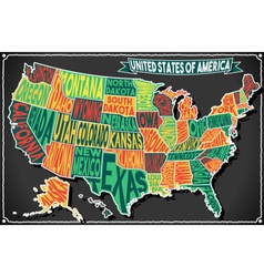 Usa map vintage blackboard 2d vector