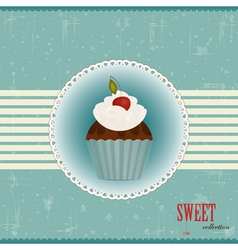 Vintage chocolate cake vector
