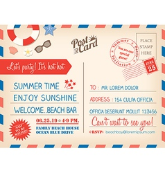 Vintage summer holiday postcard background vector