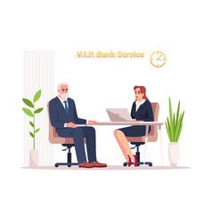 Vip bank service semi flat rgb color vector