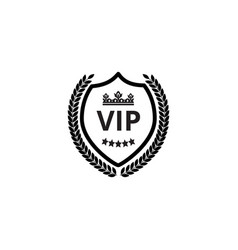 vip shield label with crown and wreath monochrome vector image
