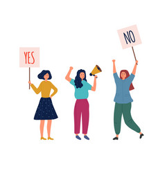 woman holding info plates yes no banners protest vector image