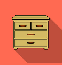 Wooden cabinet with drawers icon in flat style vector