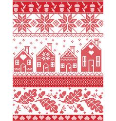 Christmas festive pattern in cross stitch vector