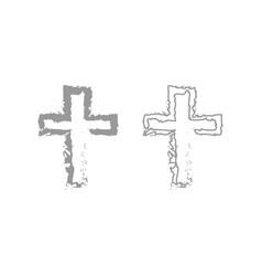 cross icon grey set vector image