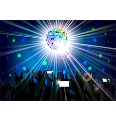 Disco ball of silhouettes background people vector image