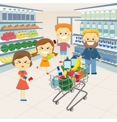 Family at the grocery store vector image vector image