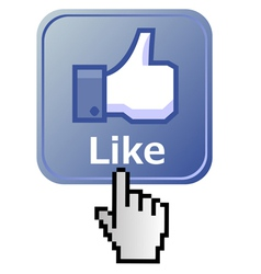 Hand on like button vector image