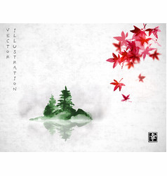Red japanese maple leaves and island with green vector
