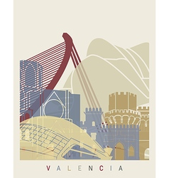 Valencia skyline poster vector image vector image
