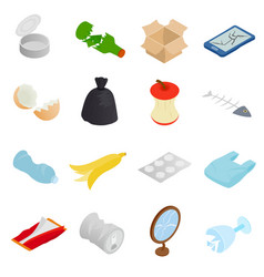 Waste and garbage icons set isometric 3d style vector image vector image