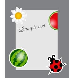 watermelon ladybug daisy on blank page vector image vector image