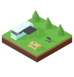 Camping RV outdoor vacation isometric icon set vector image