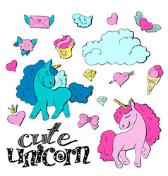 cute cartoon patch princess with unicorns hearts vector image