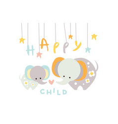 cute little elephant with mother happy child with vector image
