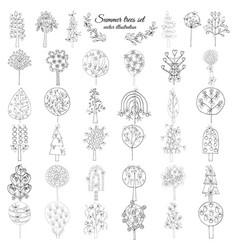 hand drawn monochrome floral elements set vector image