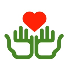 heart and hands logo design template Ecology or vector image
