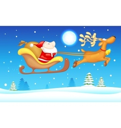Santa in Sledge vector image