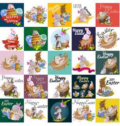 set of easter egg hunt bunny basket on green grass vector image vector image