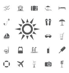 sun line icon summer set vector image vector image