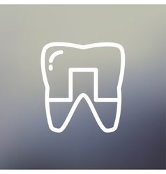 Crowned tooth thin line icon vector image