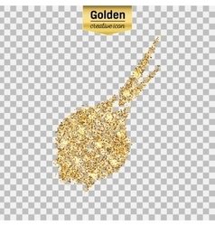 Gold glitter icon of onion isolated on vector