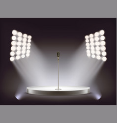 realistic microphone on empty round stage vector image vector image
