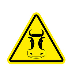 warning cow beef on yellow triangle road sign vector image vector image