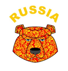 bear logo of Russia Traditional Russian ornament vector image vector image