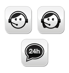 Customer service agents buttons set vector image vector image