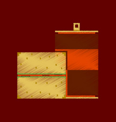 Flat shading style icon pixel burger and can of vector