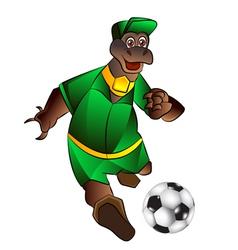 mascot playing football vector image vector image