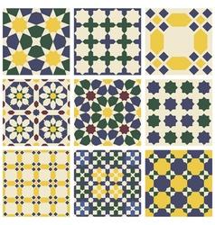 Set of nine oriental Mauritanian seamless patterns vector image vector image