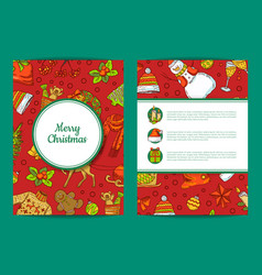 xmas tree gifts and bells card template vector image