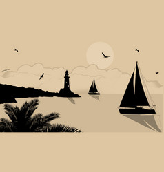 yachts and lighthouse on beautiful place on retro vector image