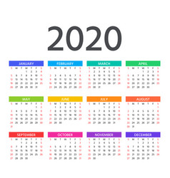 2020 calendar template year planner vector