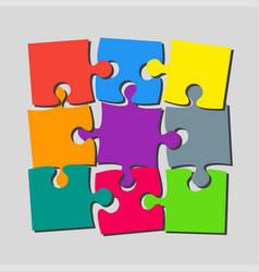 9 pieces puzzle banner puzzle signboard vector
