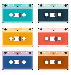 a set of outdated audio cassettes vector image