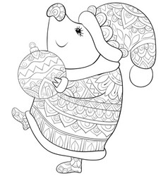 adult coloring bookpage a cute pig wearing a vector image