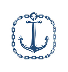 anchor with square chain vector image