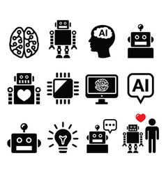 Artificial Intelligence AI robot icons set vector