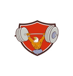 Bald Eagle Weightlifter Lifting Barbell Crest vector