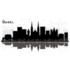 basel switzerland city skyline silhouette vector image