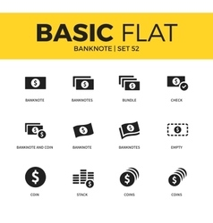 Basic set of Banknote icons vector image