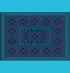Blue carpet with ornaments crimson flower vector