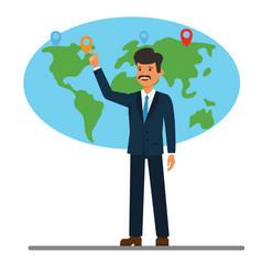 businessman pointing at global world map cartoon vector image